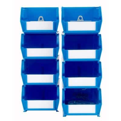 4-1/8 in. W x 3 in. H Blue Wall Storage Bin Organizer (8-Piece)