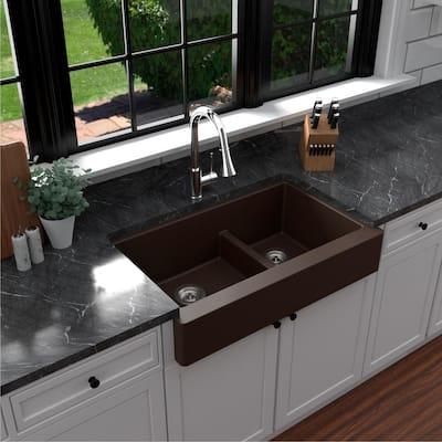 Retrofit Farmhouse/Apron-Front Quartz Composite 34 in. Double Offset Bowl Kitchen Sink in Brown