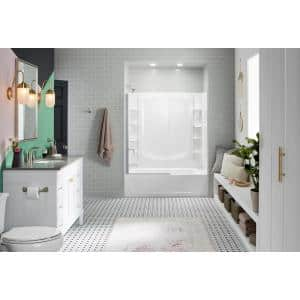 STORE+ 5 ft. Right-Hand Drain Rectangular Alcove Bathtub with Wall Set and 12-Piece Accessory Set in White