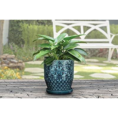10 in. Dia Blue Rivage Ceramic Planter