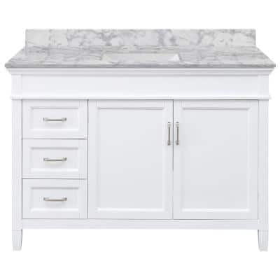 Ashburn 49 in. W x 22 in. D Bath Vanity in White LH Drawers with Marble Vanity Top in Carrara with White Trough Sink