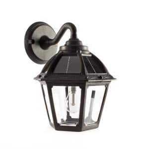 Polaris 1-Light Black Solar LED Outdoor Wall Mount Sconce with GS Warm White Bulb