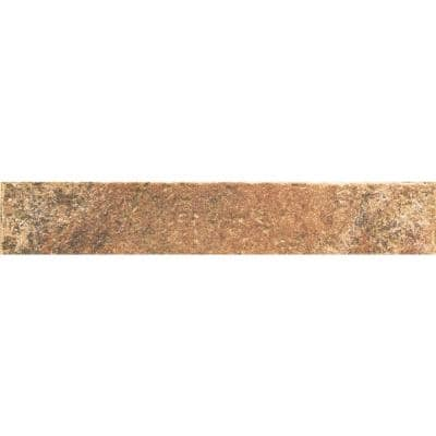 Villa Terme Rosso 3 in. x 18 in. Glazed Porcelain Bullnose Floor and Wall Tile