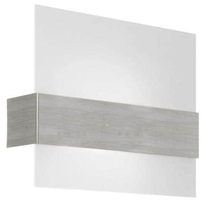 Nikita 14 in. W x 11.375 in. H 1-Light Matte Nickel Wall Sconce with Satin Glass Shade