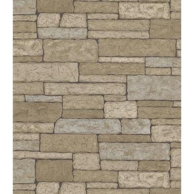 Adobe Taupe Bricks Vinyl Peelable Wallpaper (Covers 56.4 sq. ft.)