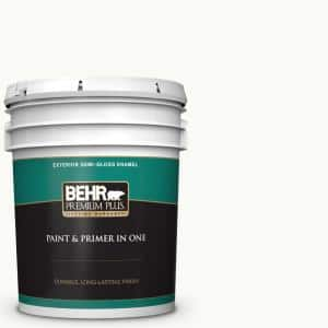 Behr Premium Plus 5 Gal Ultra Pure White Semi Gloss Enamel Exterior Paint And Primer In One 505005 The Home Depot