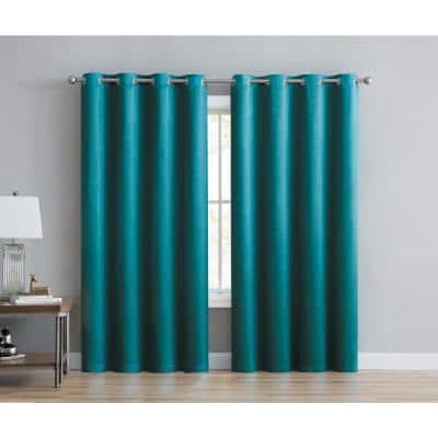 Shiny Embossed 52 in. W x 90 in. L Grommet Room Darkening Window Curtain Panel in Teal (Set of 2)