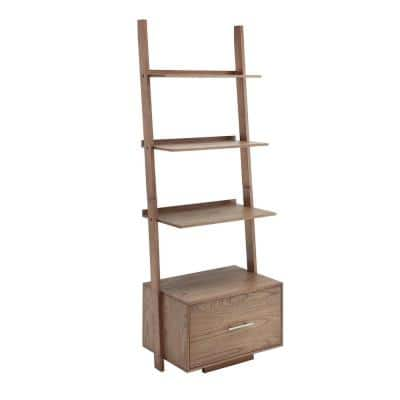 American Heritage 69 in. Driftwood Wood 4 - -Shelf Ladder Bookcase with File Drawer