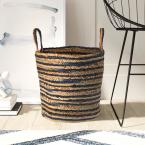 Wonder Striped Braided Navy Blue Natural Jute Storage Decorative Basket with Handles