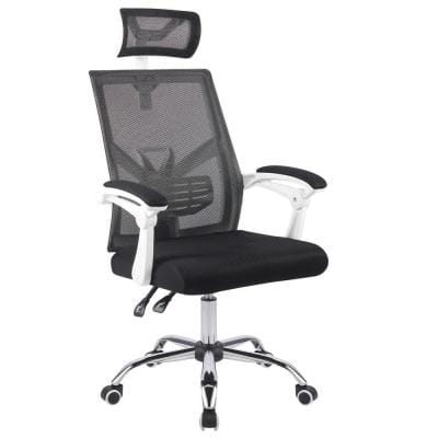 Big White Foam Seat Adjustable Height Drafting Ergonomic Chair with Headrest and Arms