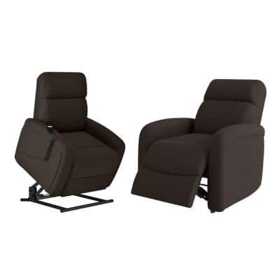 Rocker Recliner and Power in Chocolate Brown Chenille Lift Recline Chairs (Set of 2)