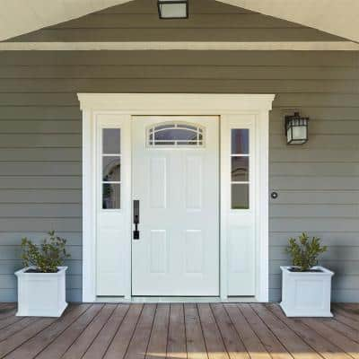 68 in. x 80 in. Camber Top White Primed RH 14 in. 3-Lite Sidelites Steel Prehung Front Door with 4-9/16 in. Frame