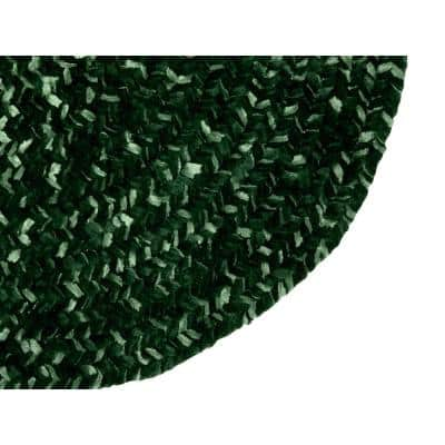 Chenille Tweed Braid Diluth and Emerald 8 ft. x 10 ft. Stain Resistant Reversible Oval Polyester Area Rug