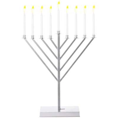 2 ft. Large Metal Silver Coated Hanukkah Menorah for Synagogue