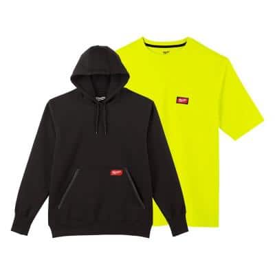 Men's Large Black Heavy-Duty Cotton/Polyester Pullover Hoodie and Short-Sleeve High Visibility Pocket T-Shirt
