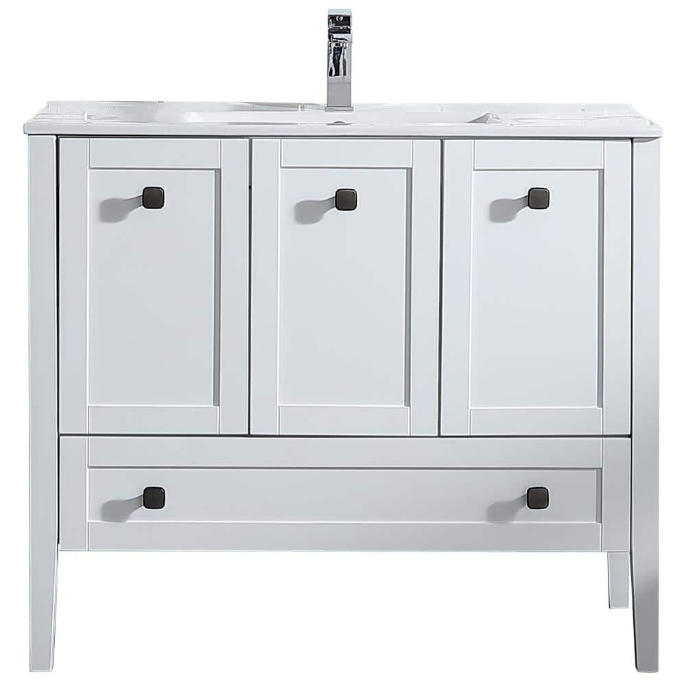 Ove Decors Andora 40 In W X 18 In D Single Sink Vanity In Matte White With Ceramic Vanity Top In White With White Basin Andora40 The Home Depot