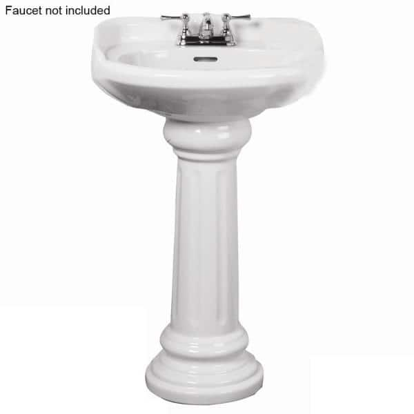 Pegasus Victoria 26 In Pedestal Combo Bathroom Sink For 4 In Centerset In White 3 754wh The Home Depot