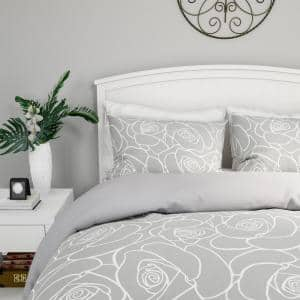 3-Piece Soft Grey With White Rose Print King Comforter Set