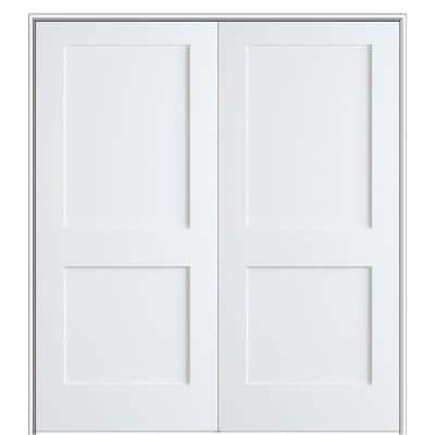 Shaker Flat Panel 56 in. x 80 in. Both Active Solid Core Primed HDF Double Pre-Hung French Door with 6-9/16 in. Jamb