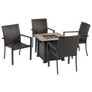 Black 5-Piece Metal Patio Fire Pit Seating Set