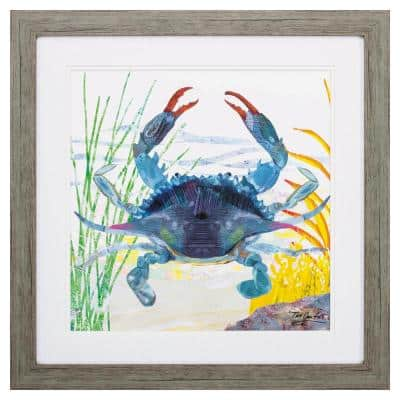 """""""SEA CREATURE CRAB"""" Framed Wall Art Animal 23 in. x 23 in."""