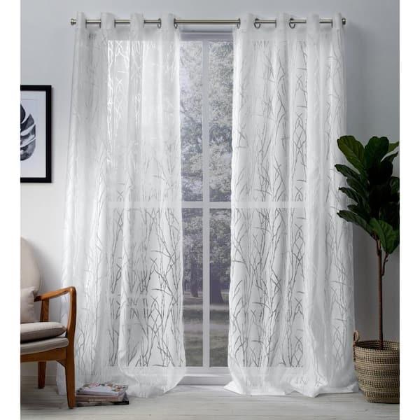 Winter White Fl Grommet Sheer, Long White Sheer Curtains