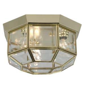 Negron 3-Light Polished Brass Incandescent Flush Mount