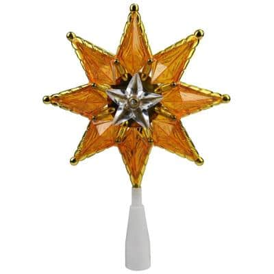 8 in. Gold Mosaic 8-Point Star Christmas Tree Topper - Clear Lights