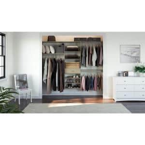 14 in. D x 96 in. W x 72 in. H Rustic Grey Perfect Fit Wood Closet Kit