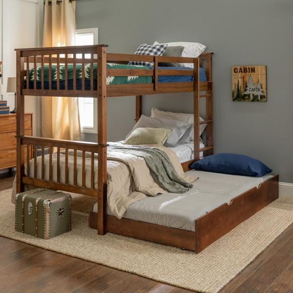 Walker Edison Furniture Company Solid Wood Walnut Twin Bunk Bed with Trundle Bed | The Home Depot