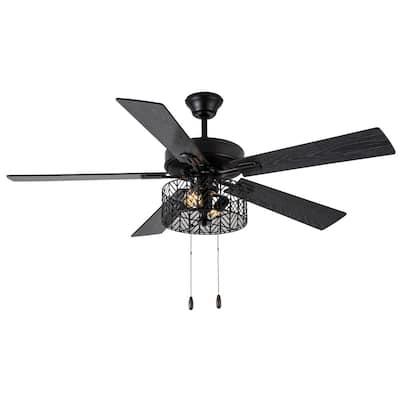 Daryn Industrial 52 in. Indoor Black Ceiling Fan with Light Kit