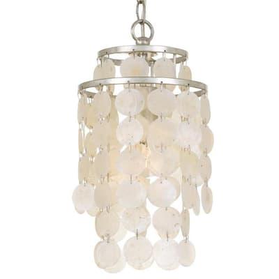 Brielle 1-Light Antique Silver Capiz Chandelier