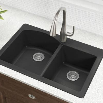 Forteza All-in-One Drop-In/Undermount Granite Composite 33 in. 1-Hole 60/40 Double Bowl Kitchen Sink in Black