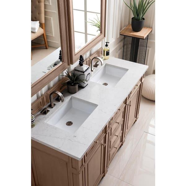 James Martin Vanities 72 In Silestone Quartz Double Basin Vanity Top In Jasmine Pearl 050 S72 Ejp Snk The Home Depot