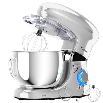 660W 6.3 qt. . 6-Speed Silver Stainless Steel Stand Mixer with Dough Hook
