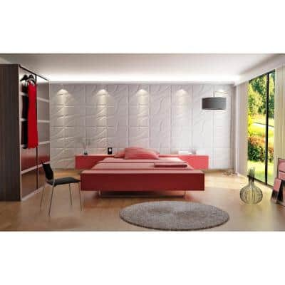 19.6 in. x 19.6 in. x 1 in. Off-White Plant Fiber Root Design Glue-On Wainscot Wall Panels (10-Pack)