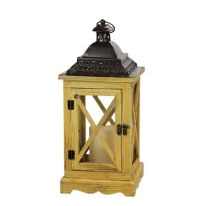 17.5 in. Rustic Wooden Lantern with Brown Metal Top and LED Flameless Pillar Candle with Timer