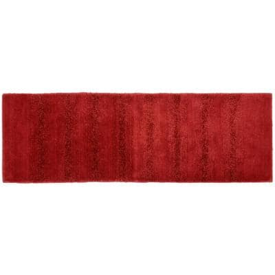 Essence Chili Red 22 in. x 60 in. Stripe Nylon Bath Mat