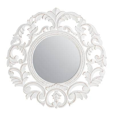 24 in. x 24 in. Bohemian Round Framed Foley White Carved Accent Mirror