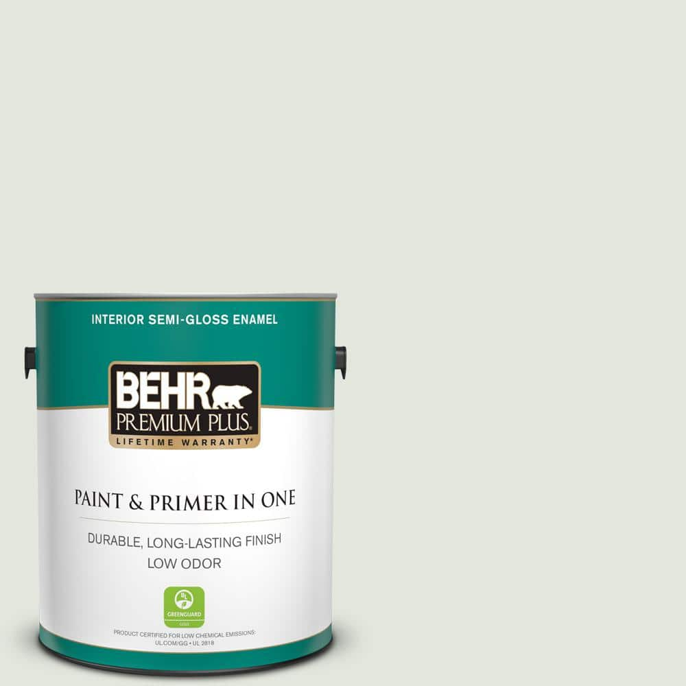 Behr Premium Plus 1 Gal Bl W06 Whispering Waterfall Semi Gloss Enamel Low Odor Interior Paint And Primer In One 305001 The Home Depot