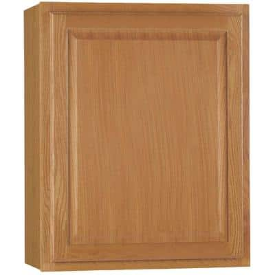 Hampton Medium Oak Raised Panel Stock Assembled Wall Kitchen Cabinet (24 in. x 30 in. x 12 in.)