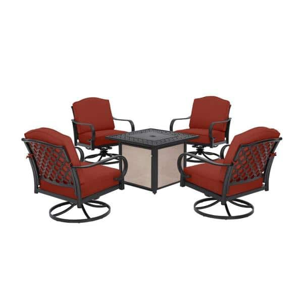 Hampton Bay Laurel Oaks 5 Piece Brown Steel Outdoor Patio Fire Pit Seating Set With Sunbrella Henna Red Cushions H192 01510100 The Home Depot