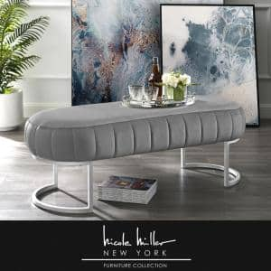Mohit Grey/Silver Velvet Bench with Metal Base