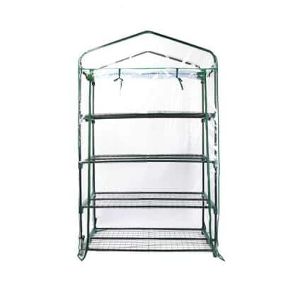 1.5 ft. L x 3.3 ft. W x 5.3 ft. H 4-Tier Extra-Wide Greenhouse with Metal Frame and PVC Cover
