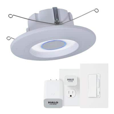 5 in./6 in. Tunable CCT Smart Alexa Voice Integrated LED Recessed White Trim with Dimmer and Bridge Kit by HALO Home