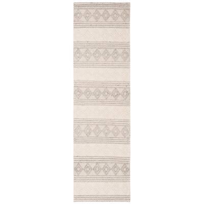 Natura Gray/Ivory 2 ft. x 12 ft. Geometric Runner Rug