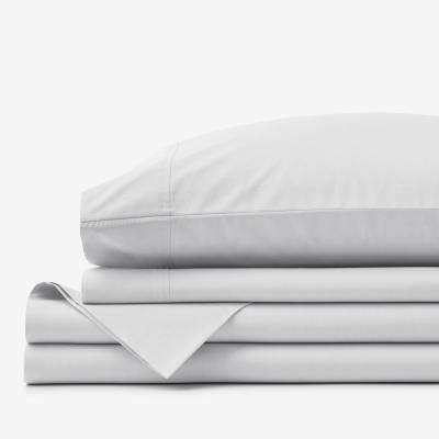 4-Piece Pearl Gray Solid 400-Thread Count Supima Cotton Percale California King Sheet Set