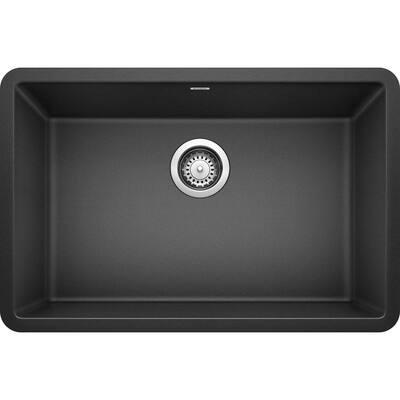PRECIS Undermount Granite Composite 27 in. Single Bowl Kitchen Sink in Anthracite