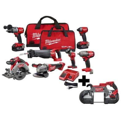 M18 FUEL 18-Volt Lithium-Ion Brushless Cordless Combo Kit (7-Tool) with M18 FUEL Deep Cut Band Saw