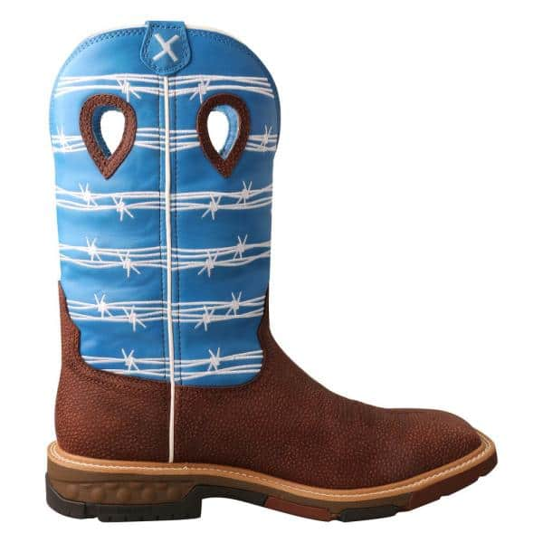 Twisted X Men S Work Boot 12 In Work Boots Soft Toe Burgundy Sky Blue Size 7 5 D Mxb0001 D 07 5 The Home Depot
